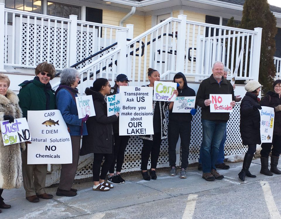 Residents and members of the newly formed Candlewood Voices group gathered outside last Thursday's Board of Selectman meeting in opposition to the proposed use of chemicals in Candlewood Lake.