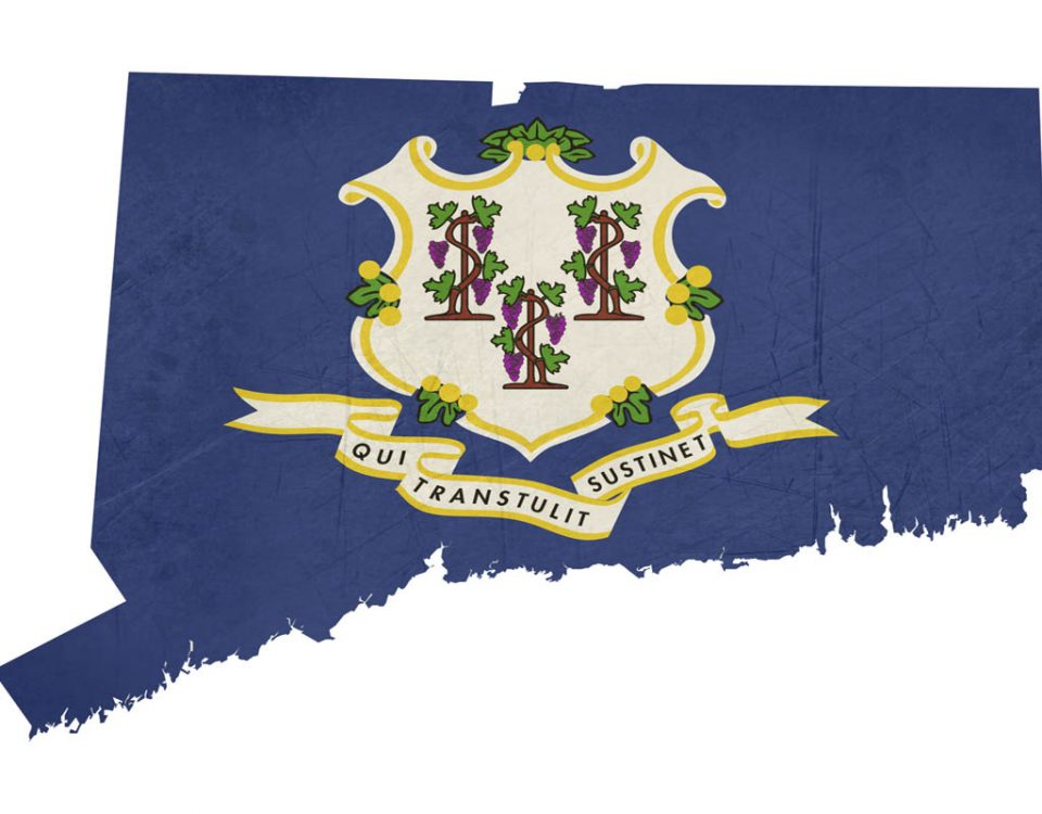 Grunge state of Connecticut flag map