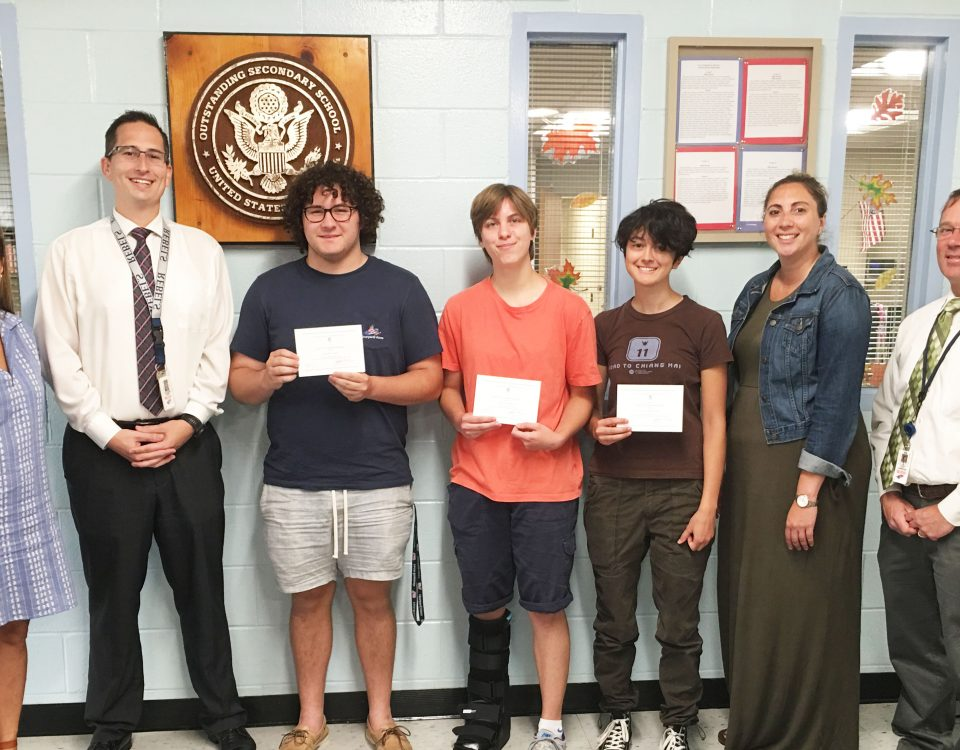 MaryAnne Smyth (Guidance Counselor), Dr. Richard Sanzo (Principal), Zachary Ficarra, Amanda Marsh, Stella Kozloski (Commended Students), Stephanie Romano (Guidance Counselor), and Scott Rohwedder - Contributed Photo