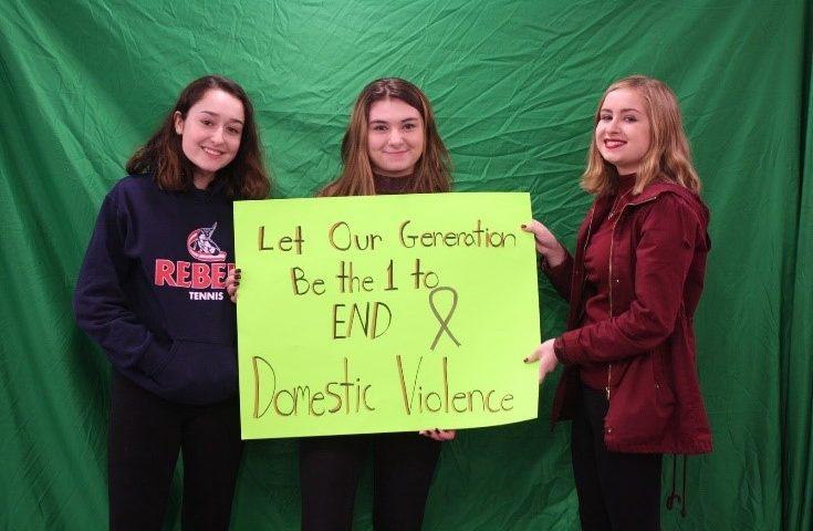 Students show support: Brooke Picciano, Sumer Perratti, and Nicole Cennamo