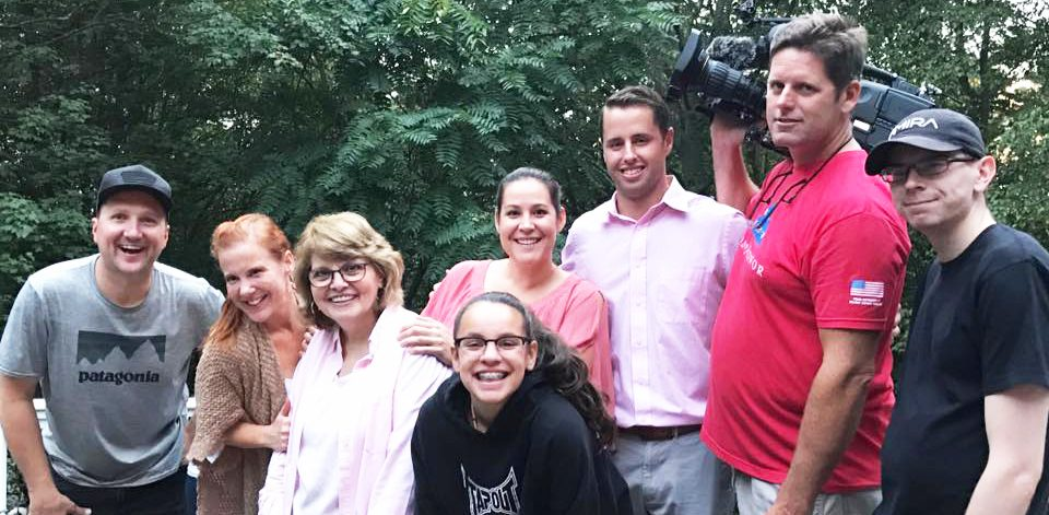 Cory Neumann, with clients Barbara, Adriana and Alayna, join film crew of reality show, House Hunters,  during filming of the episode to air next Monday, Feb. 19 at 8pm on HGTV. Photo courtesy of Cory Neumann