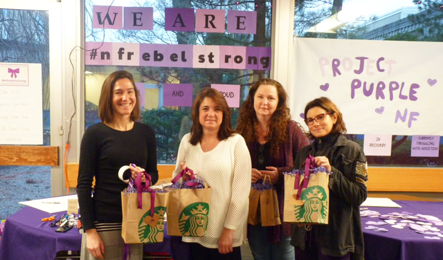 Kate Plaz, Sharon Ford, Jen Sperazza and Sherryl Hauck during the New Fairfield Prevention Council's 2017 Project Purple Week.