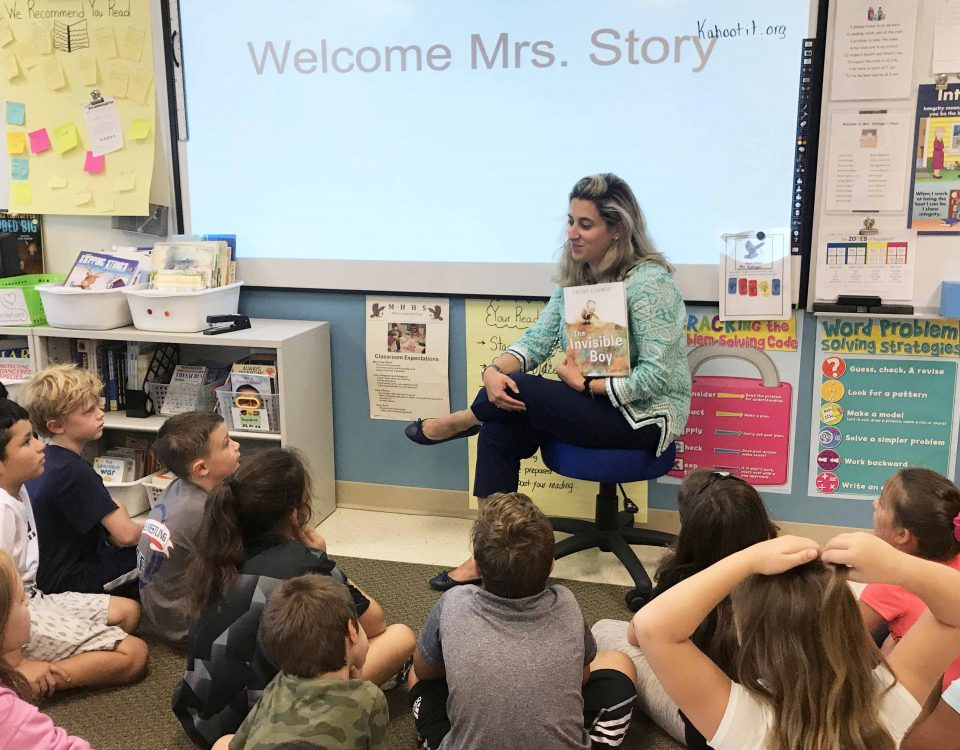 "MHHS Assistant Principal Mrs. Story spent time reading The Invisible Boy to students in preparation for ""Start with Hello"" week.  Photo by Ryan Ragan"
