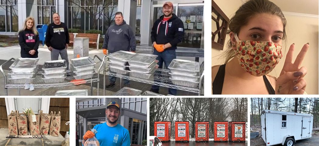"""From top Left:  """"Real Heroes Don't Wear Capes"""" delivering food, Emily Quinn in a hand-made face mask, Cora Ruiz's grocery delivery, Justin Merten-Slodowski putting together meals for Danbury Hospital, NF mobile food pantry trailers, and Peg's mobile food pantry."""